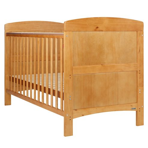Obaby Grace 4 Piece Cot Bed Set, Country Pine Cot Bed With Cream Bedding (Includes Mattress & Quilt And Bumper)