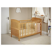 Obaby Grace 4 Piece Cot bed Set, Light Pine Cot Bed With Cream Bedding (Includes Mattress & Quilt And Bumper)