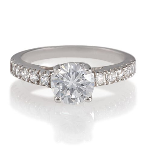 Platinum Plated Silver Solitaire Ring, M