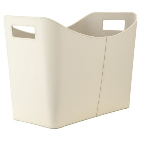 Tesco Faux Leather Magazine Basket In Cream