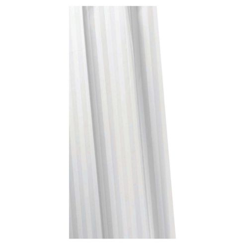 Croydex Textile Shower Curtain Woven Stripe White