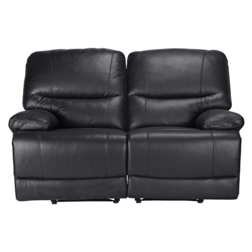 Angelo Leather Small 2 seater  Double Recliner Sofa, Black