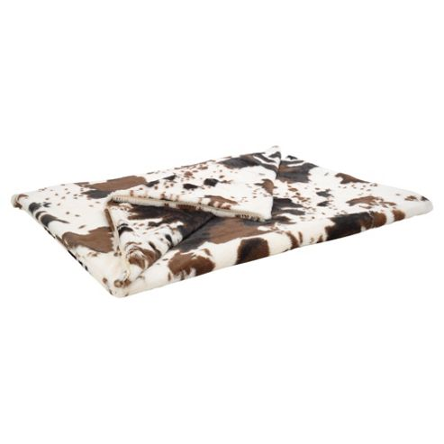 Faux Fur Cow Print Throw