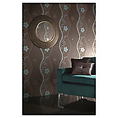 Arthouse Rhythm motif chocolate & teal wallpaper