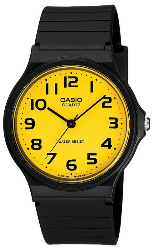 Casio Analogue Watch with Black Strap and Yellow Dial.
