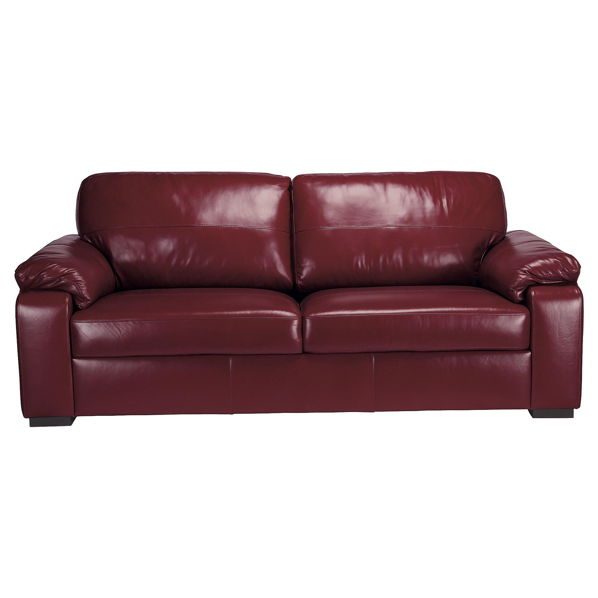 Ashmore Large Leather Sofa, Red at Tesco Direct