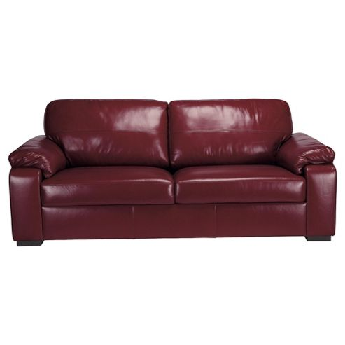 Ashmore Large Leather Sofa, Red