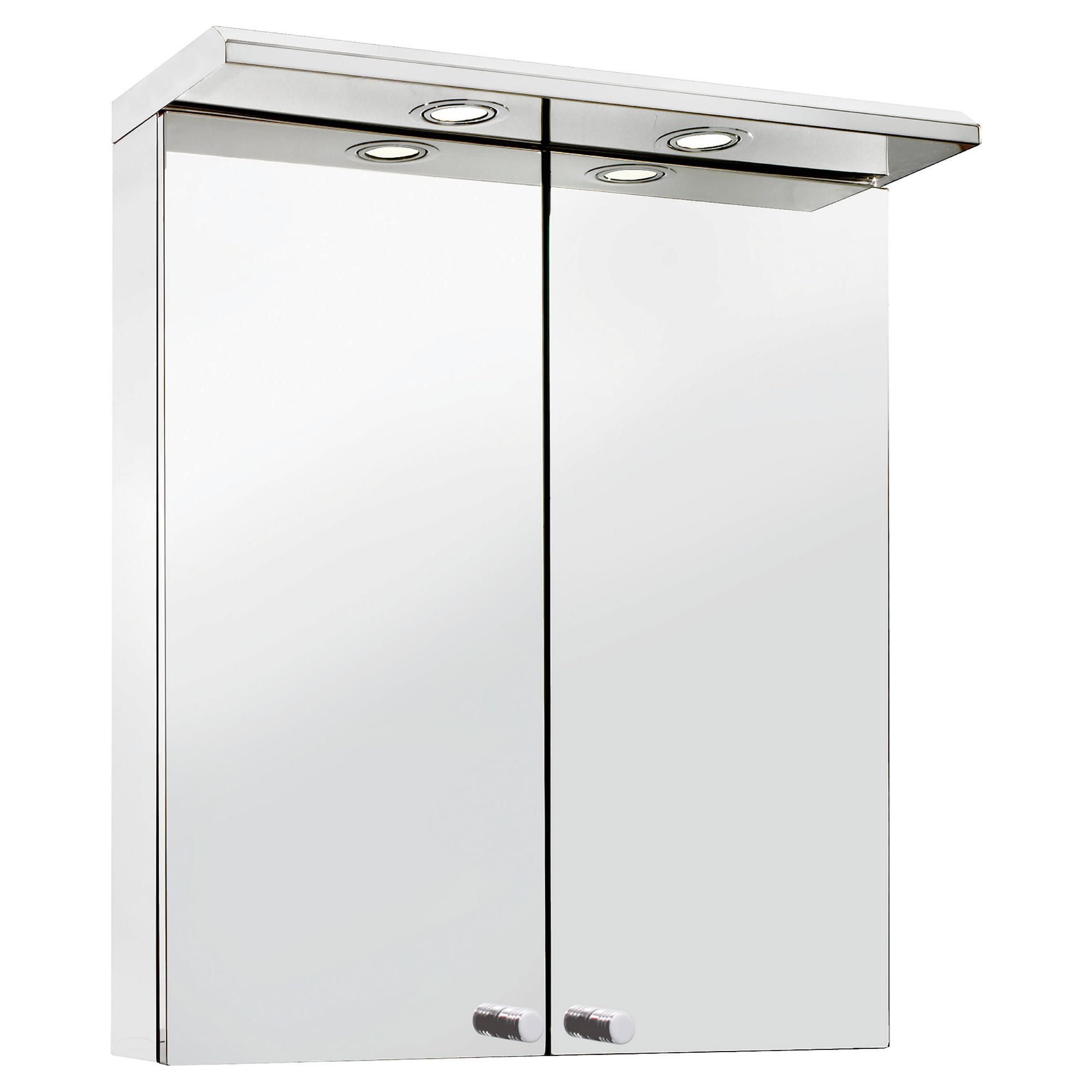 Croydex Stainless Steel Two Door Illuminated Cabinet at Tesco Direct