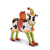 Bright Coloured Christmas Cow Ornament Complete With High Heels & Hat - Design A