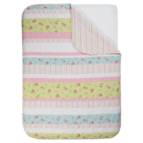 Tesco Rose Bud Quilt Pastels, Single