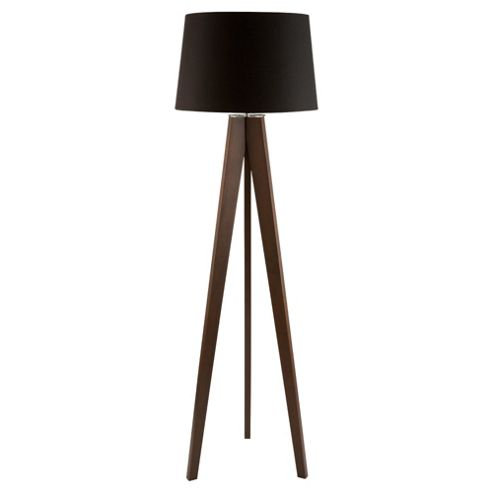 Tesco Lighting Tripod Wooden Floor Lamp Dark Wood Black Shade
