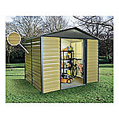 Yardmaster 6x6 Metal Woodgrain Effect Apex Shiplap Shed with floor support frame