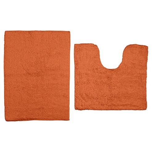 Tesco Egyptian Cotton Pedestal And Bath Mat Set Orange