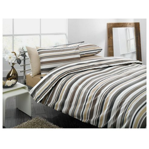 Tesco Natural Stripe Print Duvet Set - Kingsize