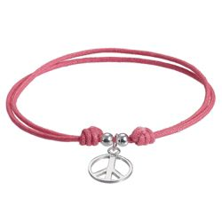 Pink Friendship Bracelet with Peace Charm
