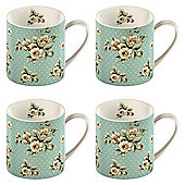 Katie Alice Blue Flowers Set of 4 Can Mugs