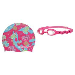 Speedo Sea Squad Goggles & Swimming Hat Set, 2-6, Pink