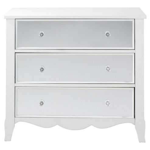 Angel 3 Drawer Mirrored Chest, White