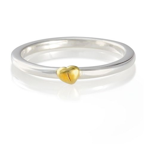 Sterling Silver Stacking Ring with Gold Plated Heart Detail, Medium