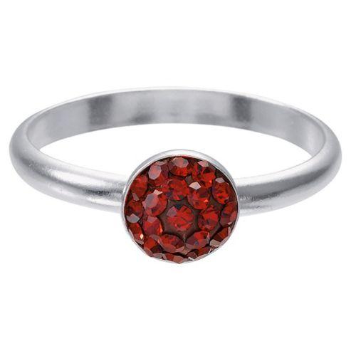 Sterling Silver Red Crystal Set Stacking Ring, Medium