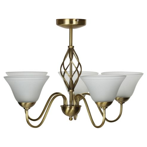 Signa Twisted Brushed antique brass 5 Light Ceiling Fitting