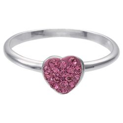 Sterling Pink Red Crystal Set Stacking Ring, Medium