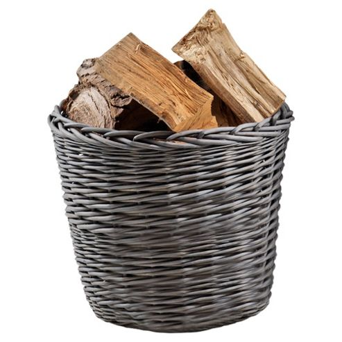 Wicker Log Basket Grey Wash