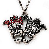 Vintage Diamante 'Theatrical Masks' Pendant Necklace In Burn Silver Metal - 70cm Length