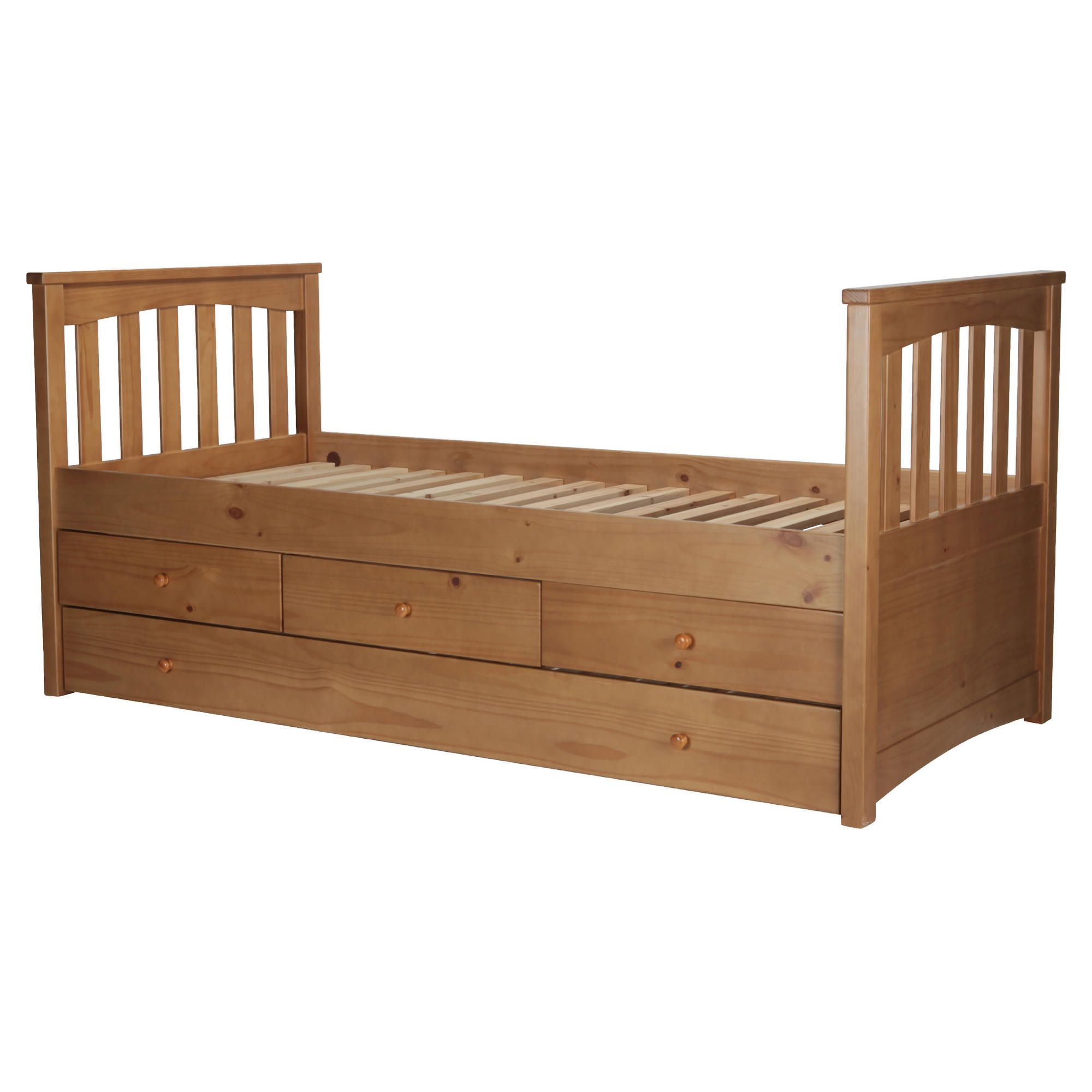 Kids Captains Bed Frame, Natural Pine with Oak Stain at Tesco Direct