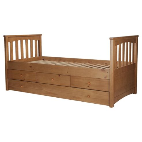 Kids Captains Bed Frame, Natural Pine with Oak Stain