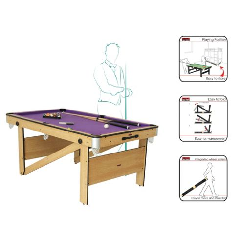BCE 6ft Rolling, Lay Flat Pool Table