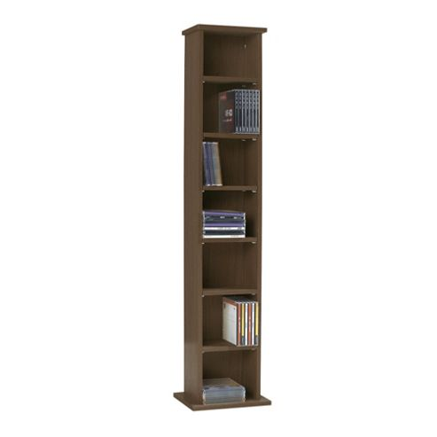 Fraser Walnut Effect CD / DVD Storage, Height 190cm