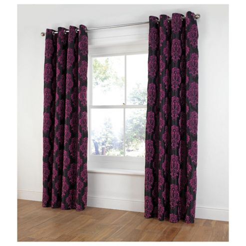 Tesco Flock Damask Lined Eyelet Curtains W163xL183cm (64x72