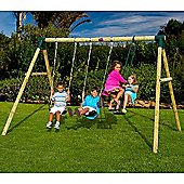 Plum Colobus Wooden Garden Swing Set with Double Swing and 2 Seat Glider