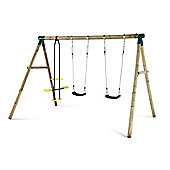 Plum Colobus Wooden Garden Swing Set with Double Swing & 2 Seat Glider
