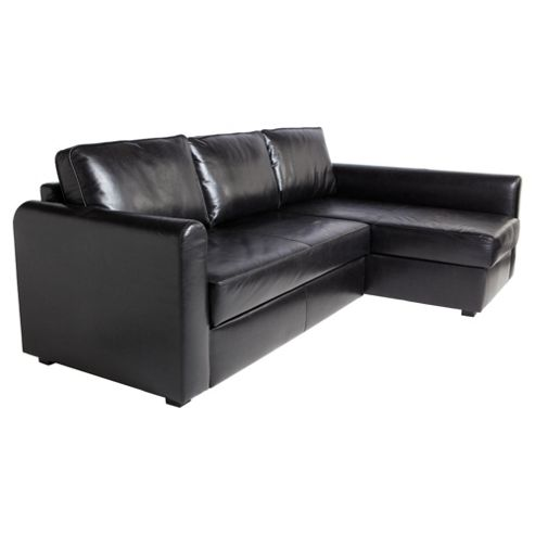 Logan Leather Effect Chaise Sofa Bed, Black Right Hand Facing