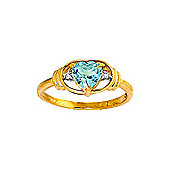 QP Jewellers Diamond & Blue Topaz Halo Heart Ring in 14K Gold