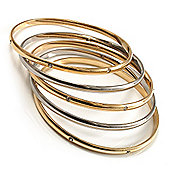 Gold & Silver Tone Diamante Metal Bangles- Set of 5 Pcs