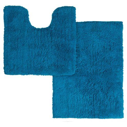 buy tesco pedestal and bath mat set turquoise stripe from. Black Bedroom Furniture Sets. Home Design Ideas