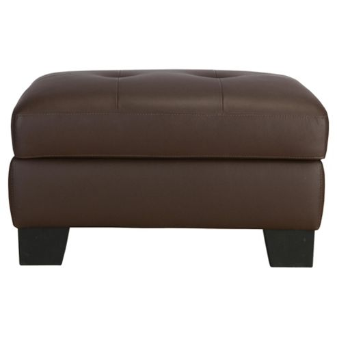 Utah Leather Storage Footstool, Brown
