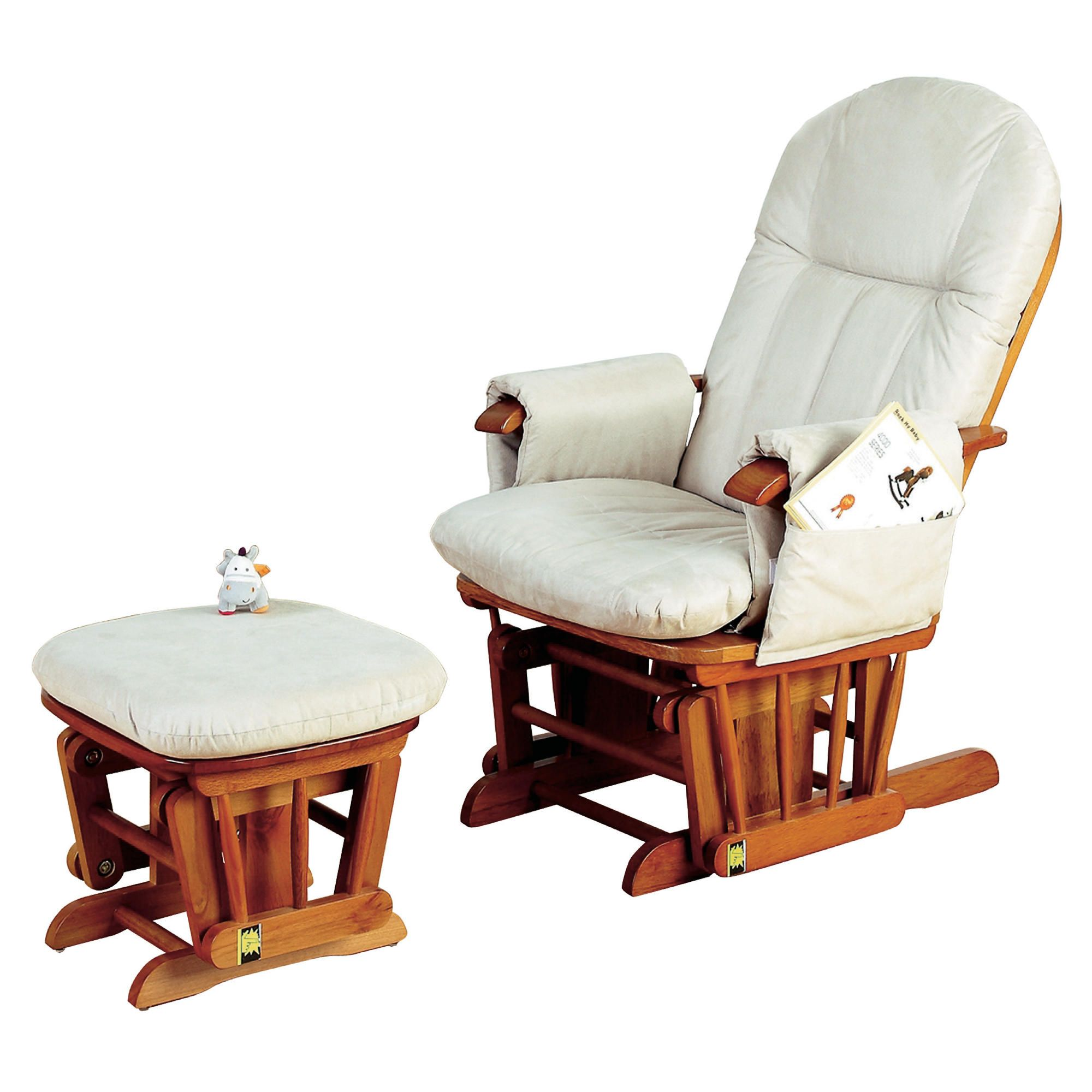 Tutti Bambini Gc35 Reclinable Glider ChairandStool Antique Pine
