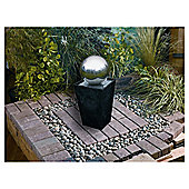 Mains slate pillar stainless steel ball water feature