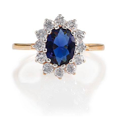 Gold Plated Silver Synthetic Sapphire & CZ Ring, O