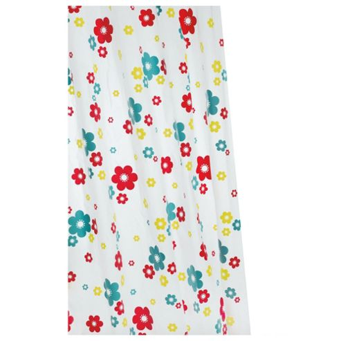 Croydex Anti-Bac Vinyl Shower Curtain Fun Floral