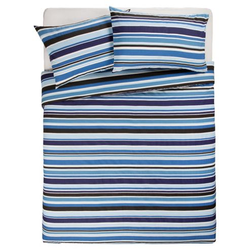 Tesco Kingsize Size Stripe Print Duvet Cover Set , Blue