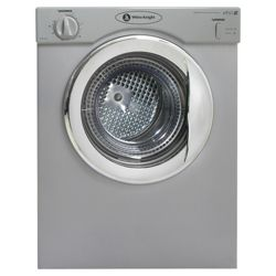 White Knight 37AS Vented Compact Tumble Dryer, 3 kg Load, D Energy Rating. Silver