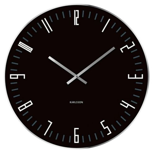 Karlsson XL Slim Index Wall Clock with Mirrored Edge in Black
