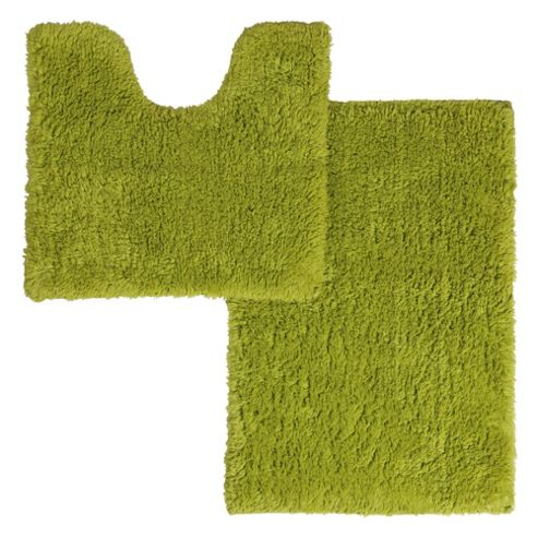 buy tesco cotton pedestal and bath mat set lime from our. Black Bedroom Furniture Sets. Home Design Ideas