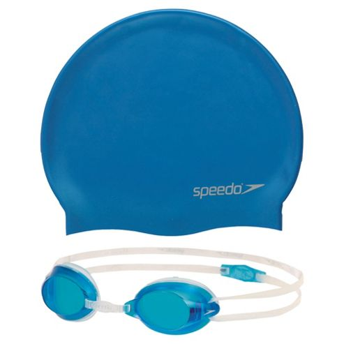 Speedo Jet Swimming Goggles & Hat Set, 6-14 Blue