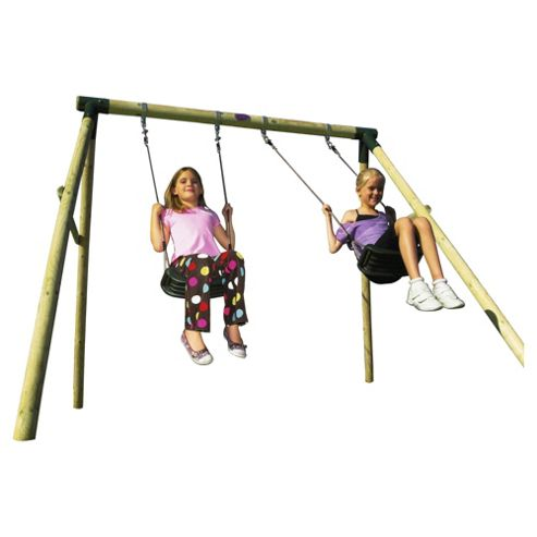 Plum Marmoset Wooden Double Swing Set